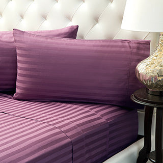 Percale 100% Egyptian Cotton Bed Sheet With Elastic 2 pieces Sets (2 Bed Sheets (120x200/30 cm)) Purple- 2237P