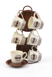 Coffee Set 13 pieces set (6 x Coffee cup + 6 x saucer + Stand ) Brown/Off White- 5001