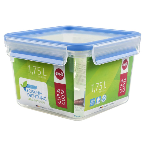 Emsa Clip and Close Square Plastic Container 1.75L Transparent - 508537