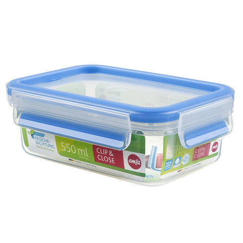 Emsa Clip and Close Rectangle Plastic Container 0.55ml Transparent - 508538