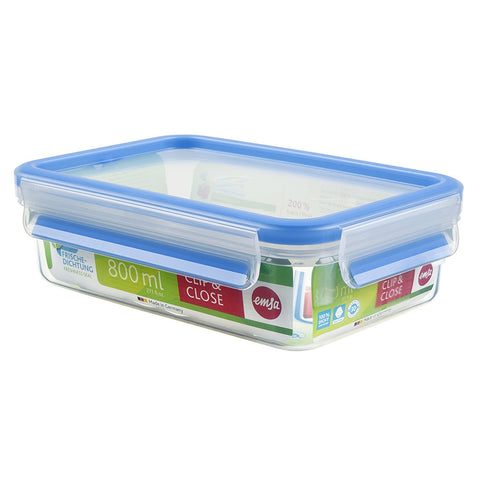 Emsa Clip and Close Rectangle Plastic Container 800ml Transparent - 508539