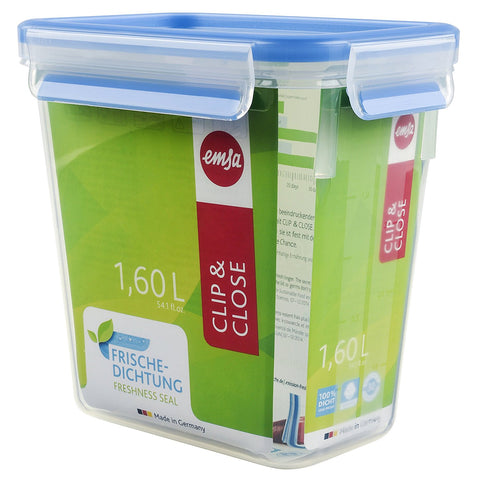 Emsa Clip and Close Rectangle Plastic Container 1.6L Transparent - 508543