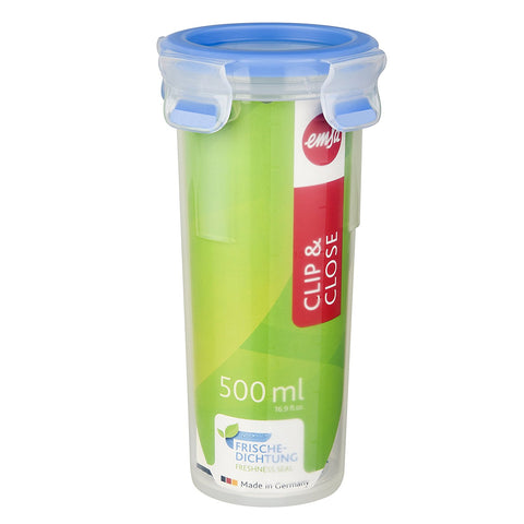 Emsa Clip and Close Round Plastic Container 500ml Transparent - 508554