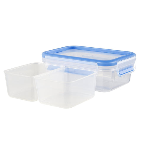 Emsa Clip and Close Divided Plastic Container 500ml Transparent - 512896