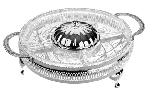Queen Anne Silver Plated Oval Glass Appetizer Dish with 5 Divisions with Lid - 60-6202