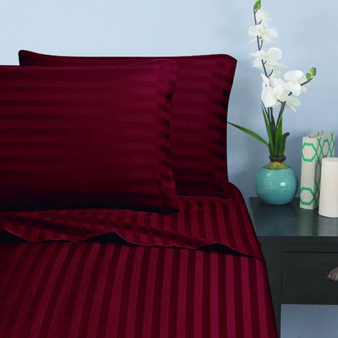 Loom Bed Sheet With Elastic 3 Pieces Sets (Bed sheet (180x200/30 cm)+2 Pillow Covers) Burgundy - 8542BR
