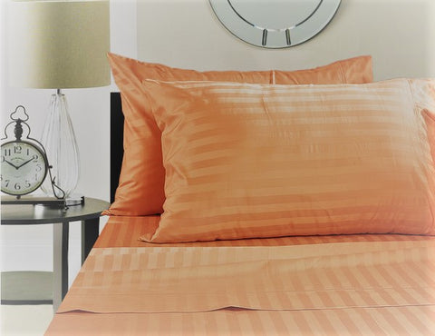 Loom Bed Sheet With Elastic 3 Pieces Sets (Bed sheet (180x200/30 cm)+2 Pillow Covers) Orange - 8542O