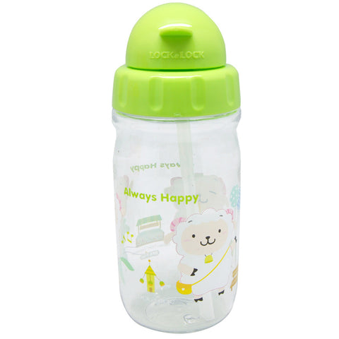 Lock & Lock Water Bottle with Starw 360ml Green - ABF630CG