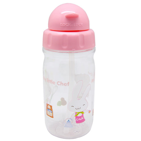 Lock & Lock Water Bottle with Starw 360ml Pink - ABF630CP