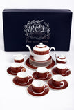 RCI Bone China Tea Set & Dessert Plates 24 Pieces Brown- M24B1