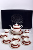 RCI Bone China Tea Set & Dessert Plates 24 Pieces Brown- M24B2