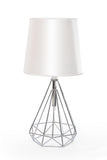 Table Lamp Silver Chase and White Chapeau One Lamp - T1565CH