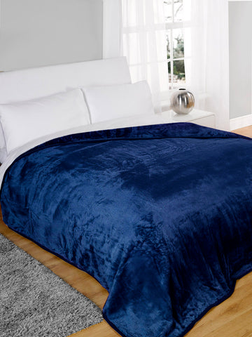 Percale Throw 2 Pieces Set (2 Throws (170x240 cm)) Blue- 2154B