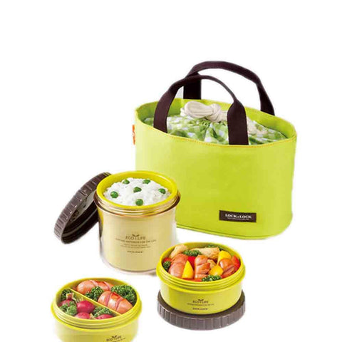 Lock & Lock Lunch Box (360ml container+220ml container x2+Bag) Green - HPL745G