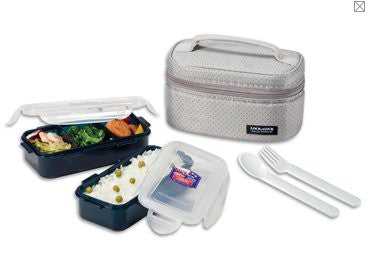 Lock & Lock Lunch Box (350ml container x2+Fork&Spoon+Bag) Grey - HPL752DG