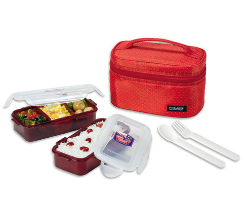 Lock & Lock Lunch Box (350ml container x2+Fork&Spoon+Bag) Red - HPL752DR