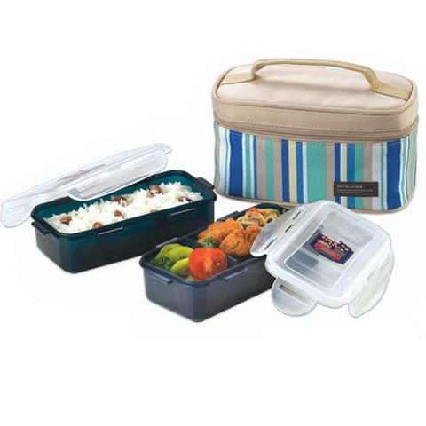 Lock & Lock Lunch Box (350ml container x2+Fork&Spoon+Bag) Blue - HPL752SB