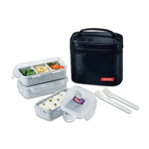Lock & Lock Lunch Box (350ml container x3+Fork&Spoon+Bag) Black - HPL754DB