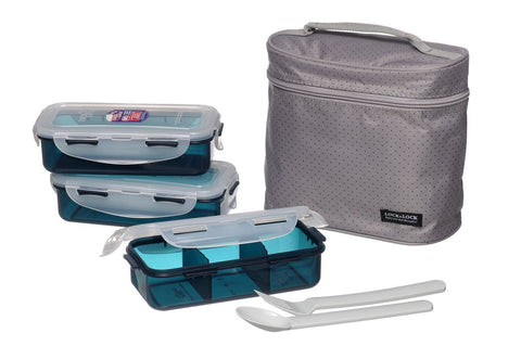 Lock & Lock Lunch Box (350ml container x3+Fork&Spoon+Bag) Grey - HPL754DG