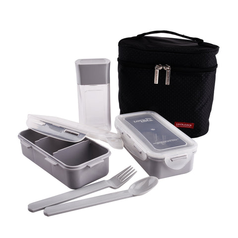 Lock & Lock Lunch Box (350ml container x2+300ml water bottle+Fork&Spoon+Bag) Black - HPL758DB
