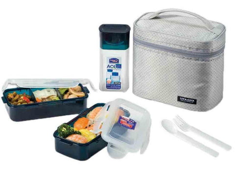 Lock & Lock Lunch Box (470ml container x2+300ml water bottle+Fork&Spoon+Bag) Grey - HPL758DG