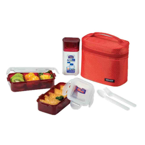 Lock & Lock Lunch Box (470ml container x2+300ml water bottle+Fork&Spoon+Bag) Red - HPL758DR
