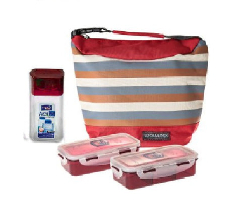 Lock & Lock Lunch Box (470ml container x2 + 300ml water bottle + Bag) Red - HPL758S2SR