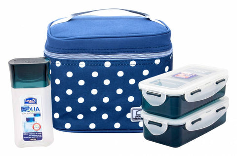 Lock & Lock Lunch Box (470ml container x2 + 300ml water bottle + Bag) Blue - HPL758S3DB