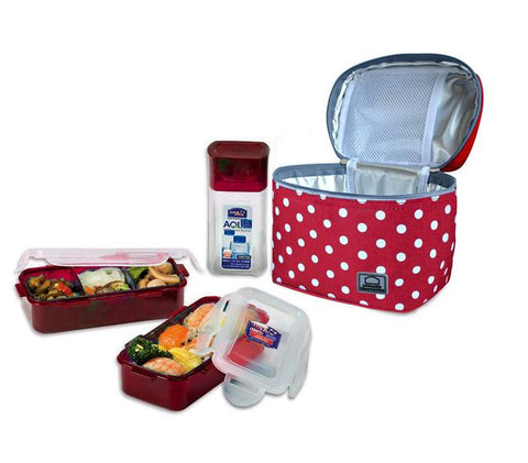 Lock & Lock Lunch Box (470ml container x2 + 300ml water bottle + Bag) Red - HPL758S3DR