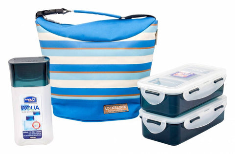 Lock & Lock Lunch Box (470ml container x2 + 300ml water bottle + Bag) Blue - HPL758S3SB