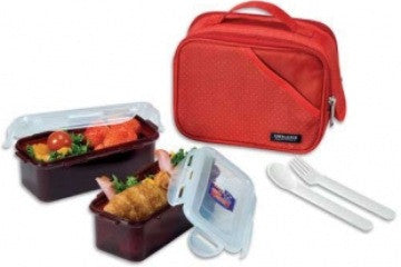 Lock & Lock Lunch Box (0.51L container x2+Fork&Spoon+Bag) Red - HPL762DR