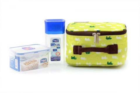 Lock & Lock Lunch Box (300ml water bottle+470ml container+Fork&Spoon+Bag) Green - HPL807BTS4AG