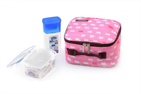 Lock & Lock Lunch Box (300ml water bottle+470ml container+Fork&Spoon+Bag) Pink - HPL807BTS4AP