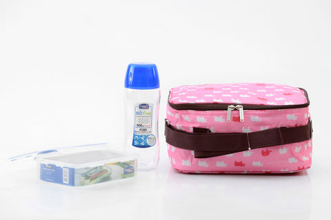 Lock & Lock Lunch Box (500ml water bottle+550ml container+Fork&Spoon+Bag) Pink - HPL815BTS4AP