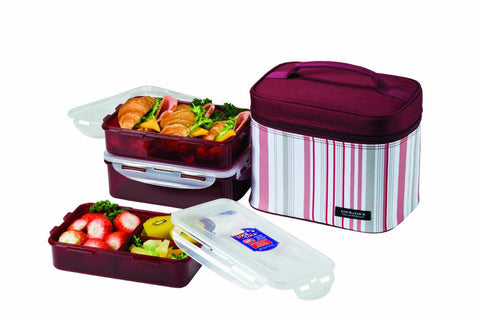 Lock & Lock Lunch Box (800ml container x2+1L container+Bag) Dark Purple - HPL817DP