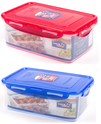 Lock & Lock 2 Piece Plastic Container Set (1.4L x 2) Multicolour - HPL817HSA2-1C