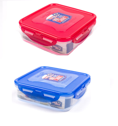 Lock & Lock 2 Piece Square Plastic Container Set (600ml x 2) Multicolour - HPL822SA2C