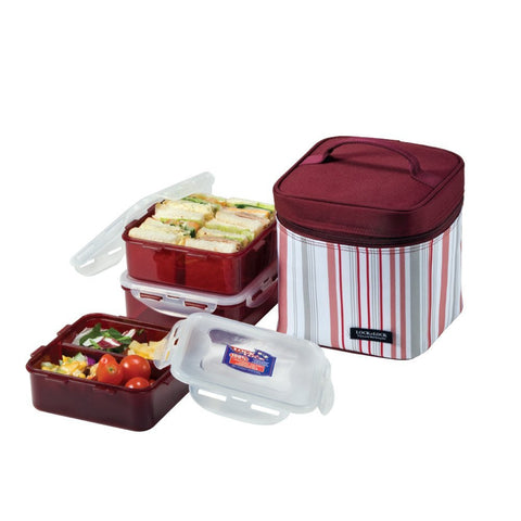Lock & Lock Lunch Box (870ml Container +800ml Container x2) Dark Purple - HPL823DP