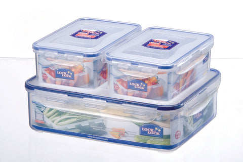 Lock & Lock 3 Piece Plastic Container Set (1.1L x2 + 3.9L x1) Transparent - HPL834SB