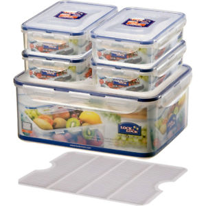 Lock & Lock 5 Piece Plastic Containers Set (4x800ml+1x5.5L) Transparent - HPL836SA