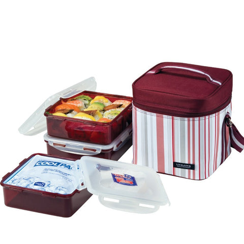Lock & Lock Lunch Box (1.2L Container x3+180g Cool Ice Pack+Bag) Dark Purple - HPL856DP