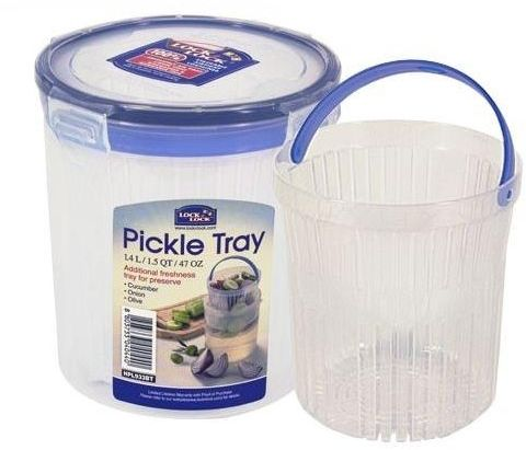 Lock & Lock Round Plastic Container with Tray 1.4L - HPL933BT