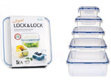 Lock & Lock 5 Piece Plastic Container Set (180ml+410ml+750ml+1.2L+2.0L) Transparent - HPL980CLQ5