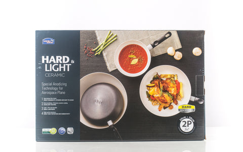 Lock & Lock 2 Piece Frying Pan Set (20cm + 26cm) Grey with Colour Box - LHB5263SP2