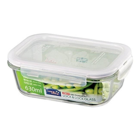 Lock & Lock Rectangle Glass Container 630ml - LLG428