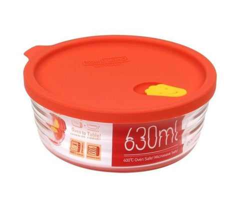 Lock & Lock Round Glass Container with Steam Hole & Silicon Lid 630ml Orange  - LLG771