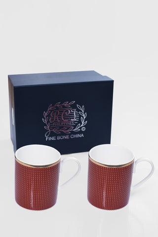 RCI Set of 2 Bone China Mugs & Gift Box Brown- M2B1