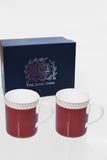 RCI Set of 2 Bone China Mugs & Gift Box Brown- M2B2