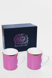 RCI Set of 2 Bone China Mugs & Gift Box Pink - M2P1