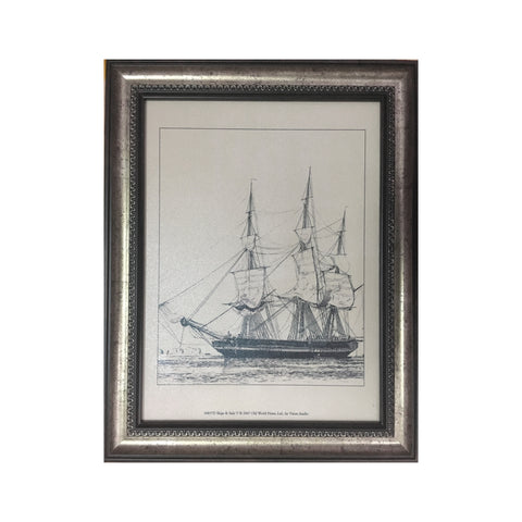 Wooden Tableau Black and White Ship 36x46 cm - OYA11